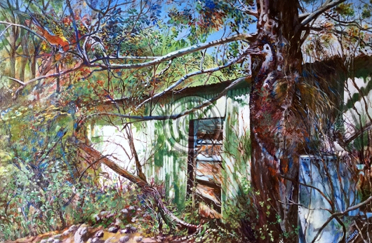"""Abandoned Shed Reclaimed. Acrylic on canvas. """"Sold""""."""