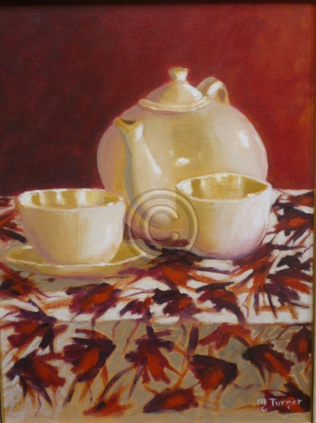 """Afternoon Tea. Acrylics. Framed. """"Unsold""""."""
