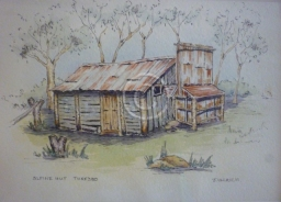 "Alpine Hut, Thredbo. Watercolour. ""unsold""."