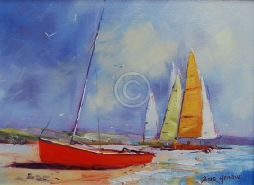 """Beach Colour. Oil on canvas. 300 mm x 220 mm. """"Sold"""""""