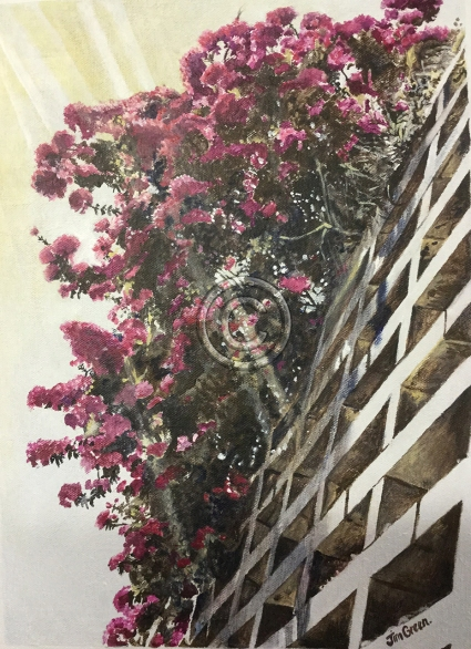 """Bougainvillias in direct sunlight. Acrylic on canvas. """"Sold""""."""
