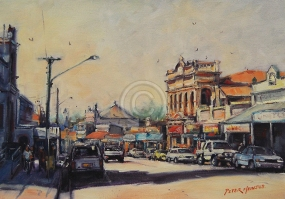 "Charters Towers Qld. Oil on canvas. 280 mm x 195 mm. ""Artist's Collection""."