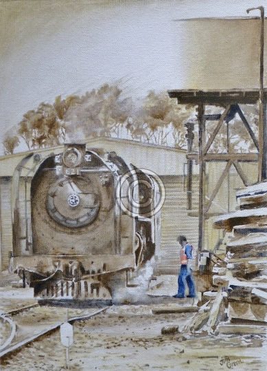"""Cockle Train at Base, Goolwa. Acrylic on canvas. """"Sold""""."""