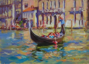 "Colours of Venice. Oil on board. 280 mm x 200 mm. ""Artist's Collection""."
