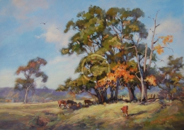 "Country Scene. Acrylic on canvas. 420 mm x 320 mm. ""Sold""."