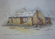 """Farmhouse Ruins, Mannum. Watercolour. """"Unsold""""."""