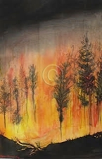 """Fire Storm. Watercolour. 570 mm x 380 mm. """"Unsold""""."""