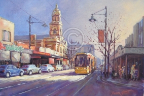 """Jetty Rd, Glenelg. Oil on canvas. 420 mm x 300 mm """"Sold""""."""