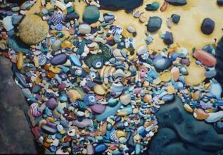 "Kings Beach. Acrylic. ""Unsold""."