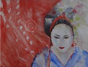 "Kyoto Geisha. Watercolour. 310 mm x 410 mm. ""Unsold""."