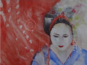 "Kyoto Geisha. Watercolour. 310 mm x 410 mm. ""Unsold""."