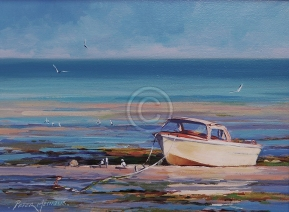 """Neville's Boat. Acrylic on canvas. 300 mm x 220 mm. """"Sold""""."""