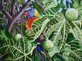 """Parrot In A Fig Tree. Acrylic. """"Unsold""""."""