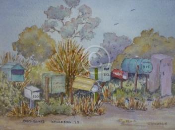 "Post Boxes, Kangaroo Island. Watercolour. ""Unsold""."