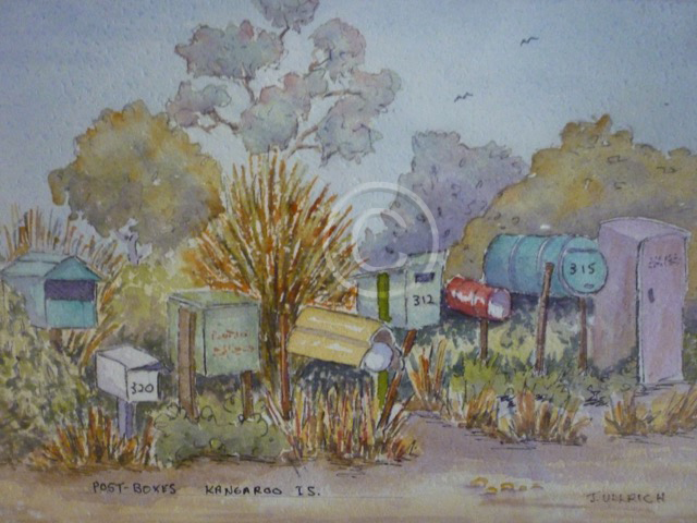 "Post Boxes, Kangaroo Island. Watercolour. ""Unsold""."
