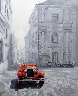 """Red Auto - Prague. Acrylic on canvas. 760 mm x 880 mm. """"Sold""""."""
