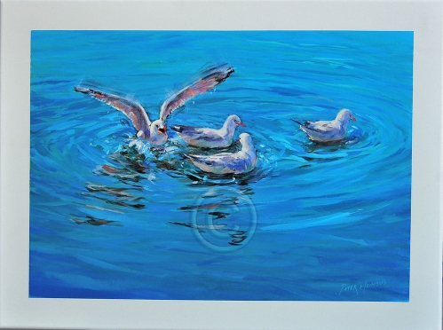 "Splashdown. Acrylic on canvas. 610 mm x 410 mm. ""Unsold""."