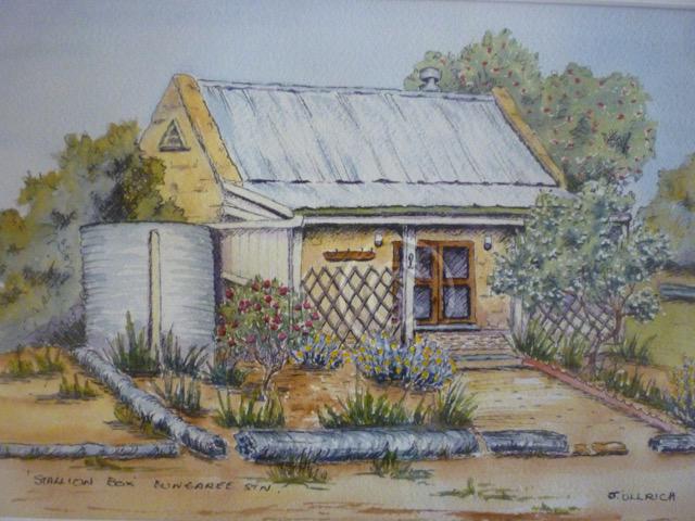 """Stallion Box, Bungaree Station. Watercolour. """"Unsold""""."""