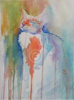 "Venetian Cat 3. Watercolour. 410 mm x 310 mm. ""Unsold""."