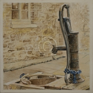 "Willunga Pump. Acrylic on canvas. ""Sold""."