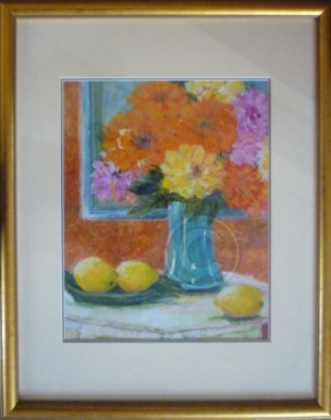 Flowers in a blue vase framed acrylic 65 cm x 75 cm