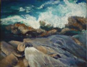 Kangaroo Island seascape acrylic stretched canvas 26 cm x 22 cm
