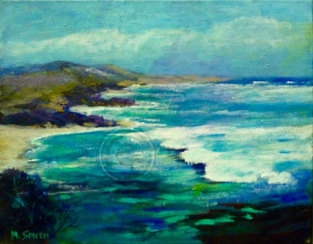 Robe Seascape acrylic stretched canvas 26 cm x 22 cm