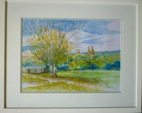 St Peters across the park framed watercolour 55 cm x 45 cm