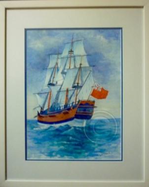 Tall Ship framed watercolour 55 cm x 45 cm