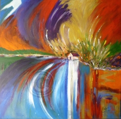 The Boat House acrylic on stretch canvas 100 cm x 100 cm