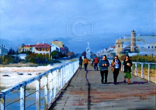 A Stroll on Semaphore Jetty 300 x 250 mm Oil Sold