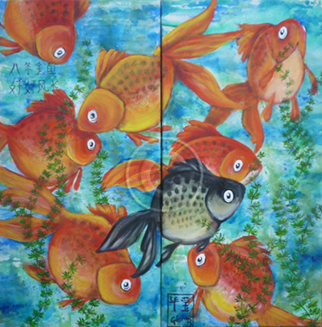 Feng Shui Fish acrylic stretch canvas diptych 60X 60 cm available