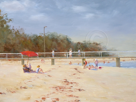 Picnicing on Coochie, Qld 400 X 500 mm Oil Own collection