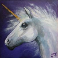 Unicorn acrylic stretch canvas 24 x 24 cm gifted