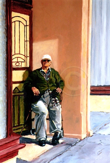 Watching the World Go By 280 x 220 mm Oil Sold