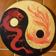 Yin Yang acrylic on stretch canvas 51 cm available