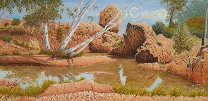"""Death Rock Waterhole Acrylic, SC, 80 x 40 cms """"$300.00"""""""