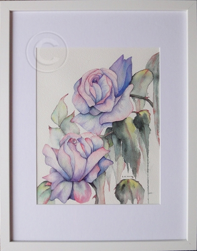 Abstract Roses 'Watercolour' 300 x 380, Framed,'únsold'
