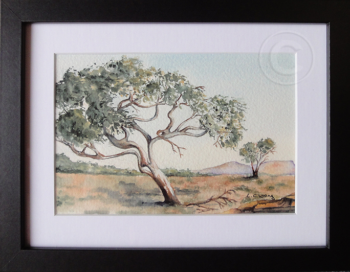 Snappy Gum Pilbara 'Watercolour' 170 x 220, Framed 'Unsold'