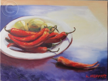 Chillies and Lemons 'Oil' 30.5 cm x 40.5 cm, 'Not For Sale'