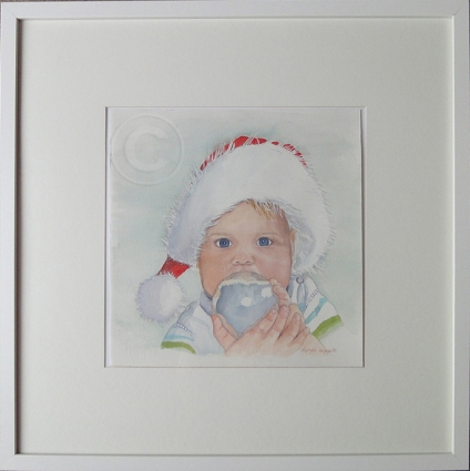 Christmas Helper 'Watercolour'53 cm x 53 cm, Framed, 'Not For Sale'