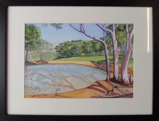 Clarendon Dam 'Watercolour' 42 cm x 32 cm, Framed, 'Unsold'