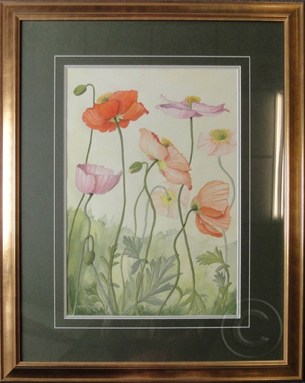 Poppies 'Watercolour' 53 cm x 43 cm, Framed, 'Sold'