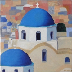Santorini Domes 'Oil' 30 cm x 30 cm, 'Not For Sale'