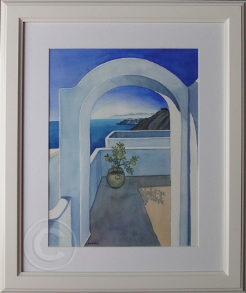 Santorini Views 'Watercolour' 48 cm x 58 cm, Framed, 'Sold'
