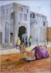 Camel Dubai. Watercolour, framed, 550 x 420 mm