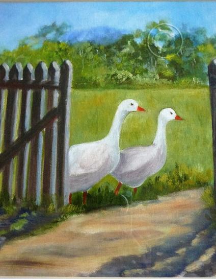 Geese. Oil, framed, 380 x 380 mm