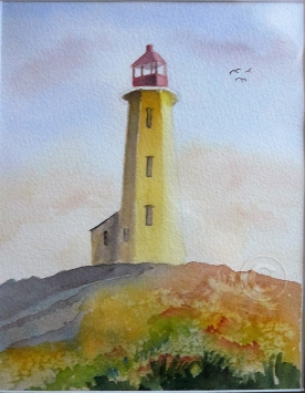 Lighthouse. Watercolour, framed, 350 x 430 mm