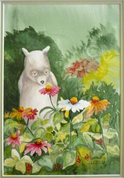 Pooh's Garden. Watercolour, framed, 430 x 340 mm
