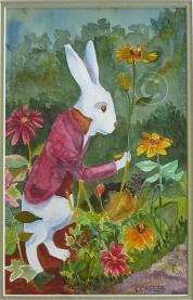 White Rabbit. Watercolour, framed, 430 x 340 mm